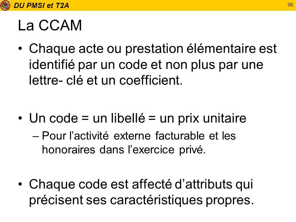 La CCAMChaque acte ou prestation élémentaire est identifié par un code et non plus par une lettre- clé et un coefficient.