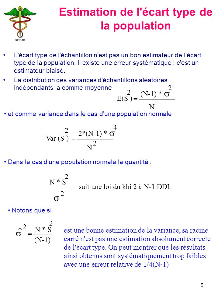 Estimation de l écart type de la population