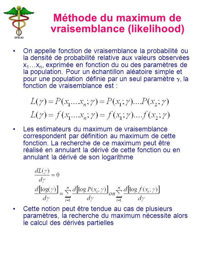 Méthode du maximum de vraisemblance (likelihood)