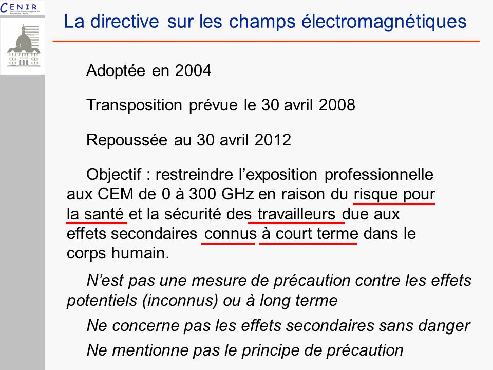 La directive sur les champs électromagnétiques