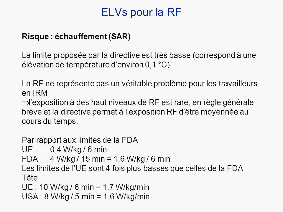 ELVs pour la RF Risque : échauffement (SAR)