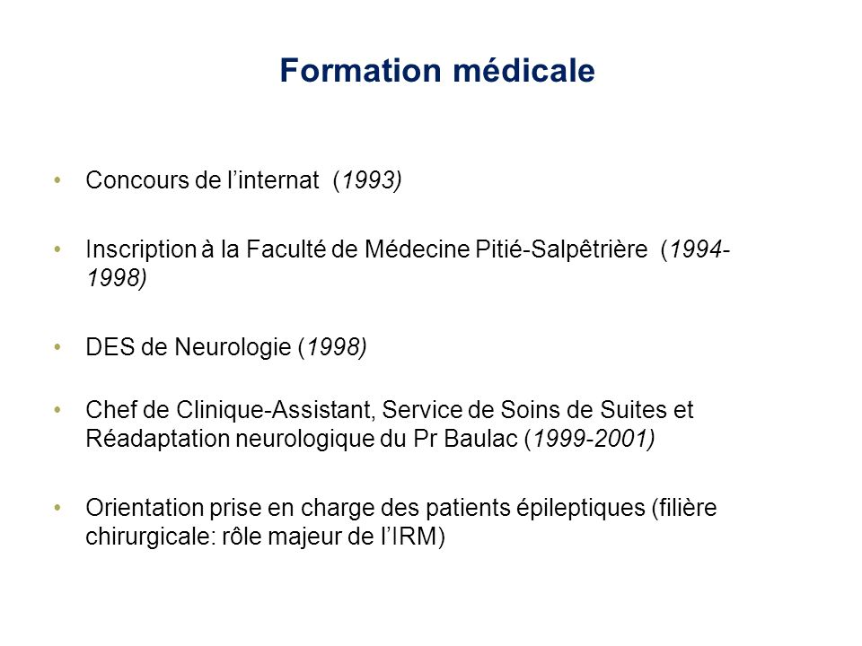 Formation médicale Concours de l'internat (1993)