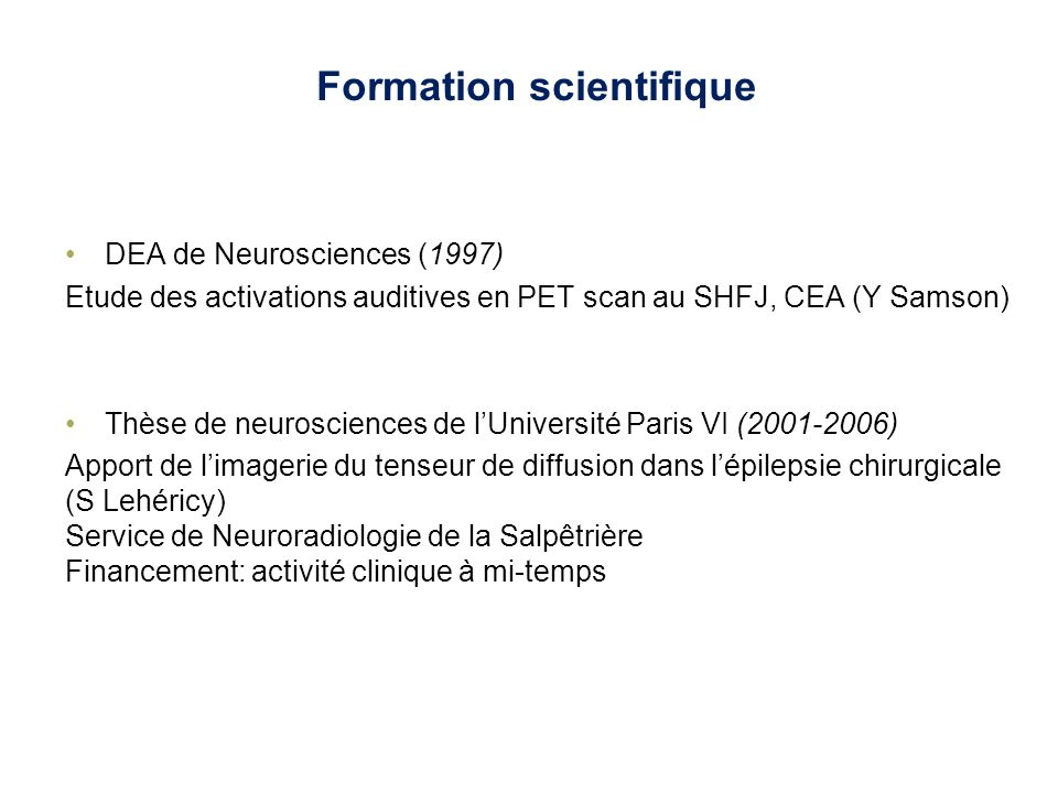 Formation scientifique