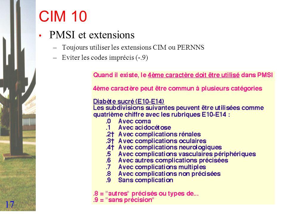 CIM 10 PMSI et extensions. Toujours utiliser les extensions CIM ou PERNNS.