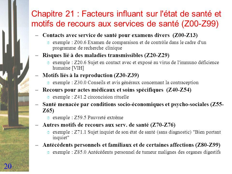 Chapitre 21 : Facteurs influant sur l état de santé et motifs de recours aux services de santé (Z00-Z99)