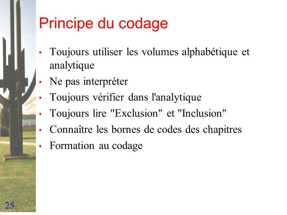 Principe du codage Toujours utiliser les volumes alphabétique et analytique. Ne pas interpréter. Toujours vérifier dans l analytique.