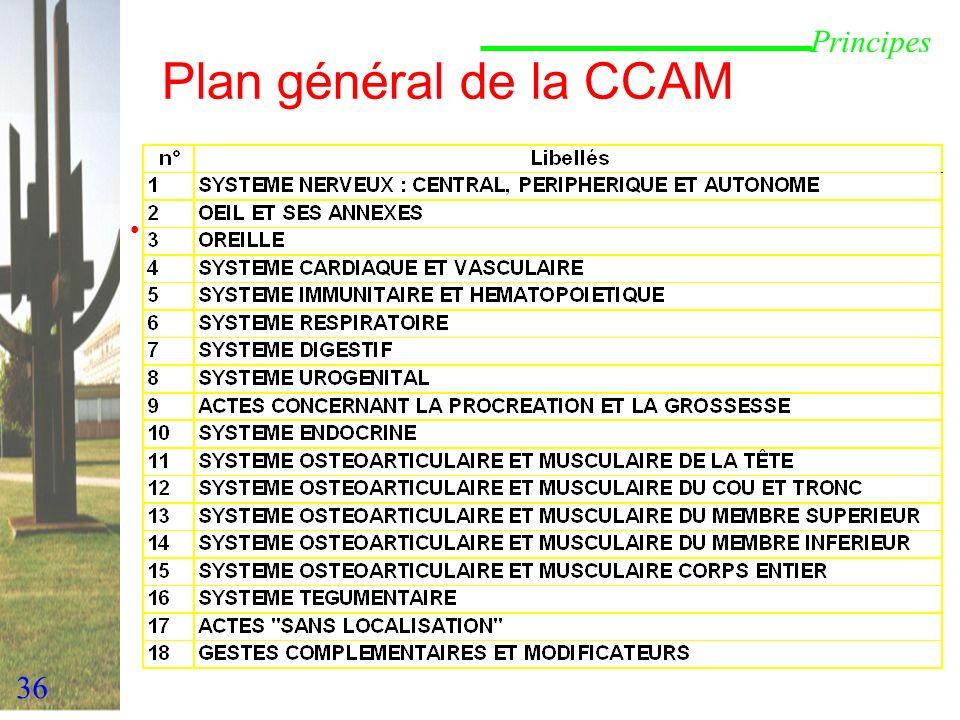 Plan général de la CCAM Principes 2ème principe de description :