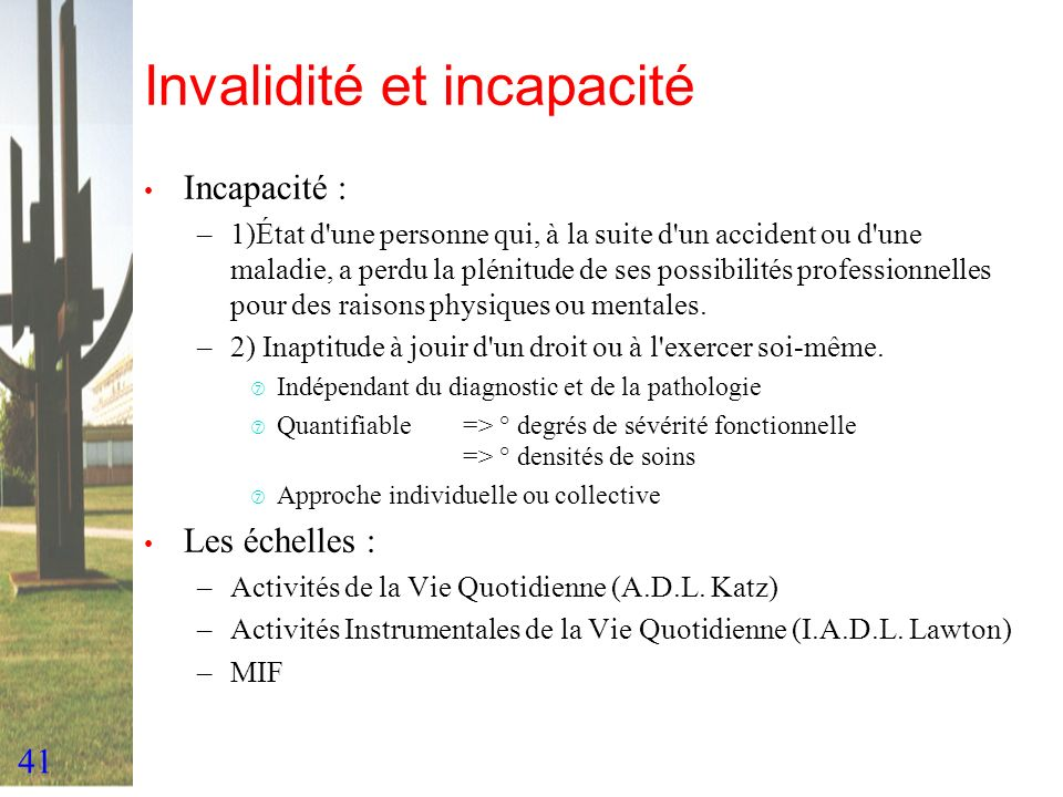 Invalidité et incapacité