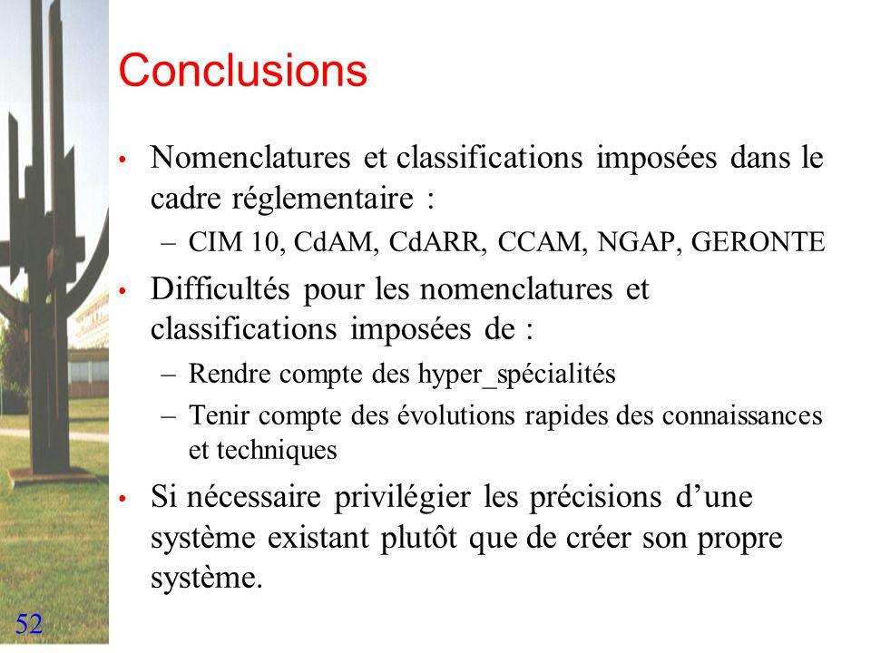 Conclusions Nomenclatures et classifications imposées dans le cadre réglementaire : CIM 10, CdAM, CdARR, CCAM, NGAP, GERONTE.