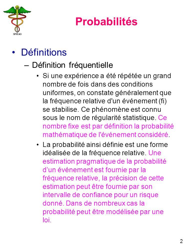 Probabilités Définitions Définition fréquentielle