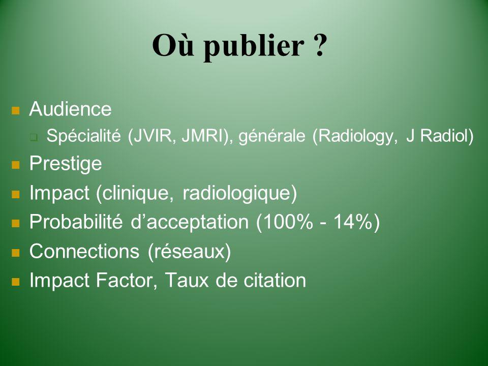 Où publier Audience Prestige Impact (clinique, radiologique)