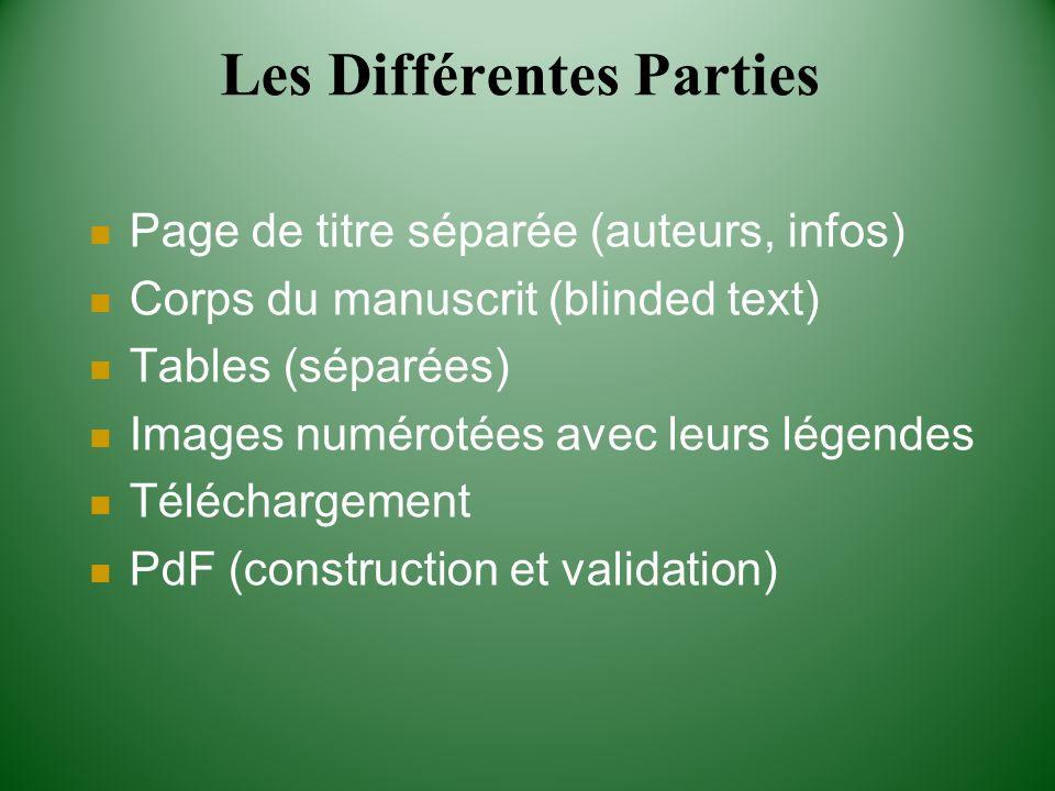 Les Différentes Parties