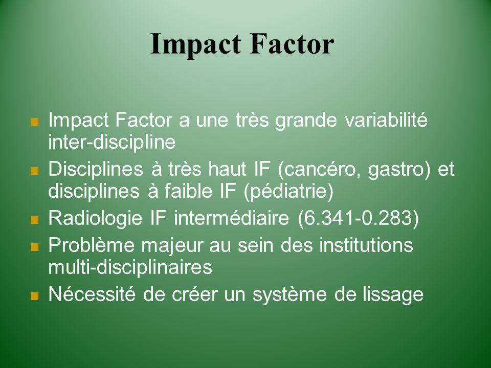 Impact Factor Impact Factor a une très grande variabilité inter-discipline.