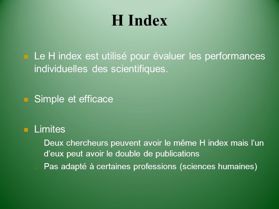 H Index Le H index est utilisé pour évaluer les performances individuelles des scientifiques. Simple et efficace.