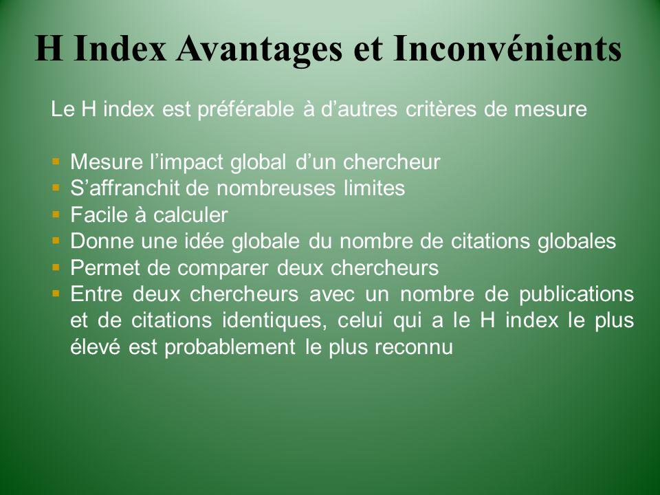 H Index Avantages et Inconvénients