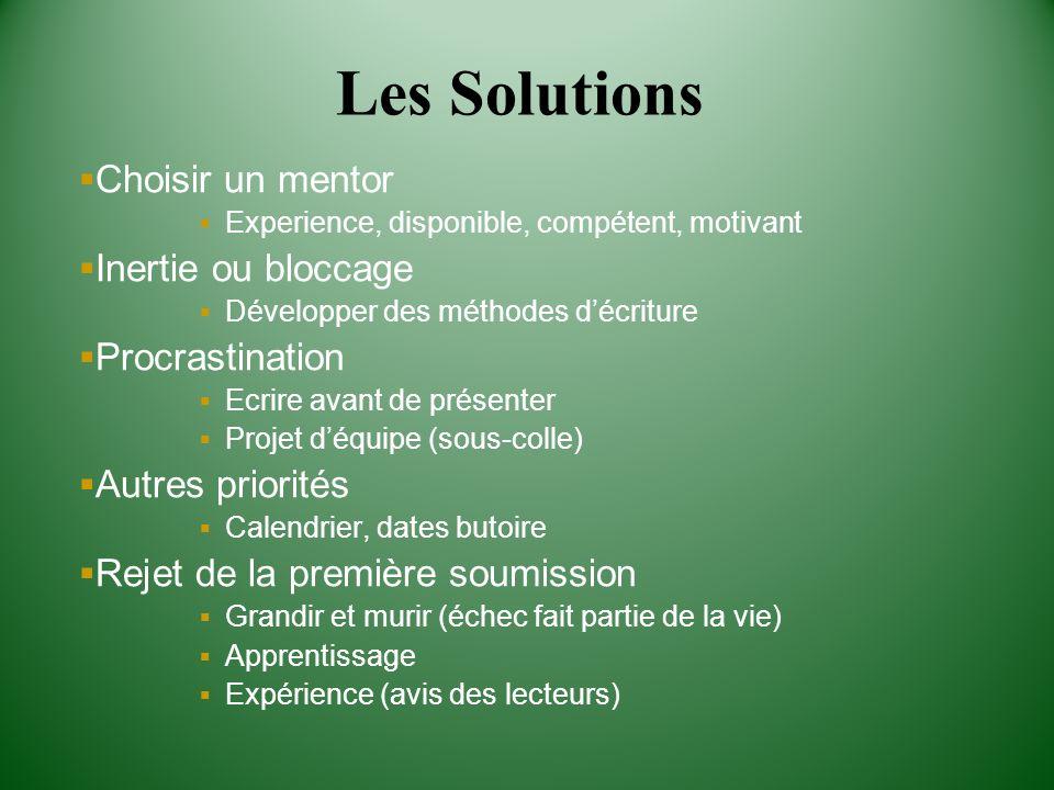 Les Solutions Choisir un mentor Inertie ou bloccage Procrastination