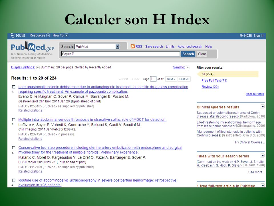 Calculer son H Index