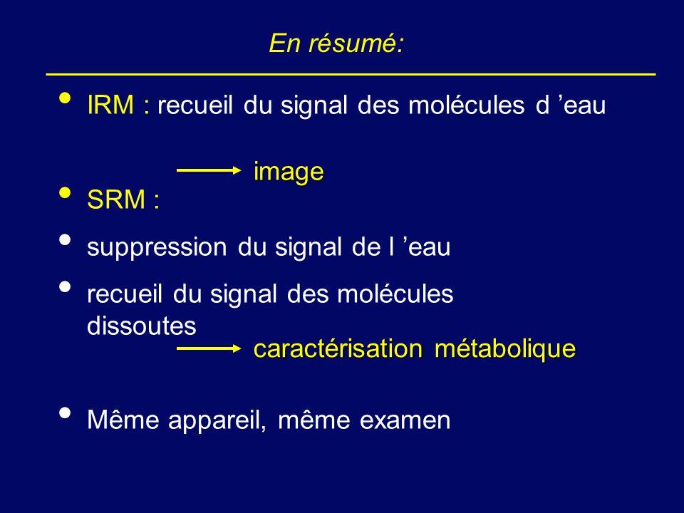 En résumé: IRM : recueil du signal des molécules d 'eau. SRM : suppression du signal de l 'eau. recueil du signal des molécules dissoutes.
