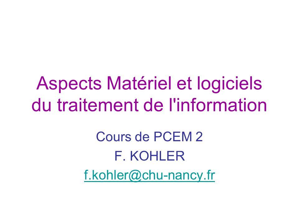 Aspects Matériel et logiciels du traitement de l information