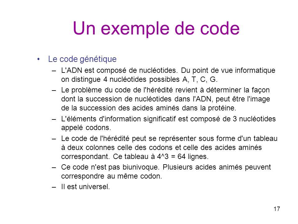 Un exemple de code Le code génétique