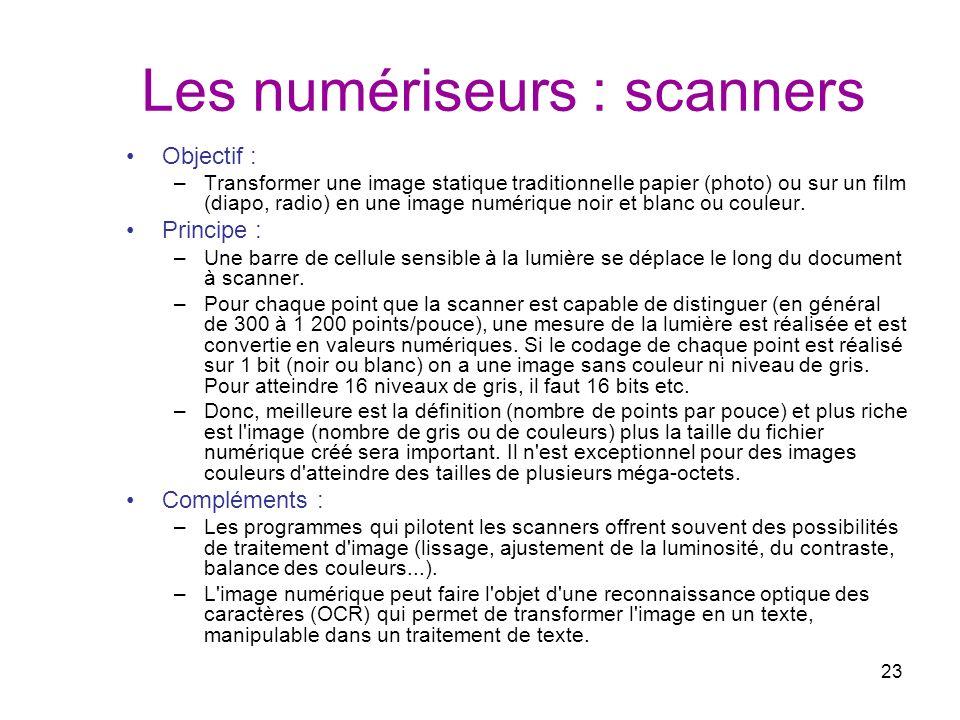 Les numériseurs : scanners
