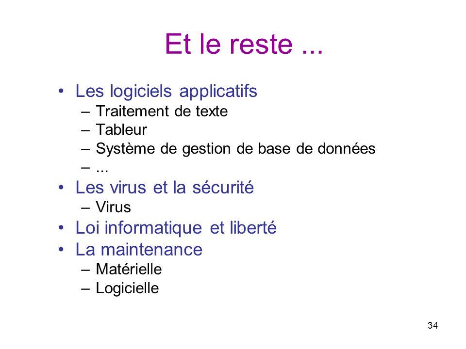 Et le reste ... Les logiciels applicatifs Les virus et la sécurité