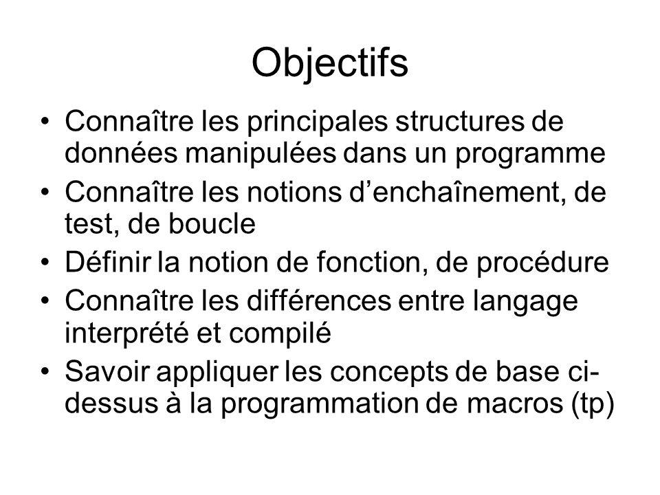 Objectifs Connaître les principales structures de données manipulées dans un programme. Connaître les notions d'enchaînement, de test, de boucle.
