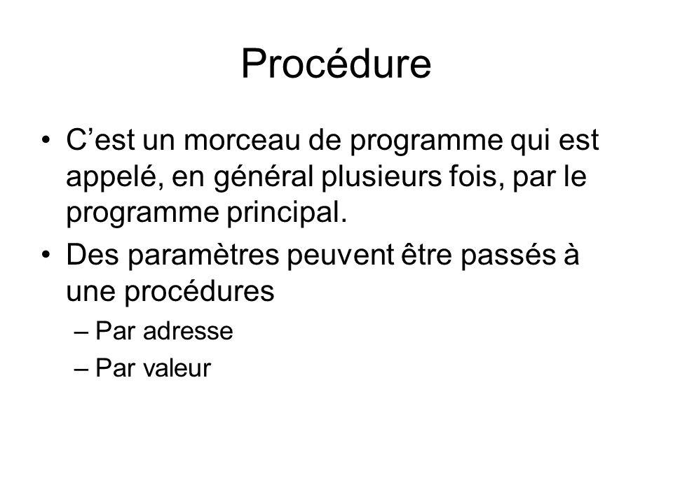 Procédure C'est un morceau de programme qui est appelé, en général plusieurs fois, par le programme principal.