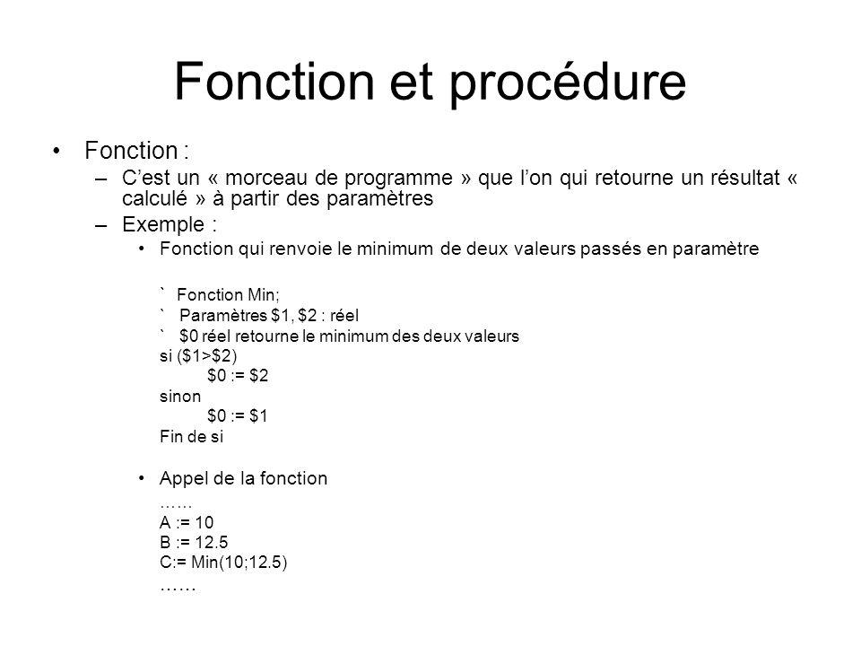 Fonction et procédure Fonction :