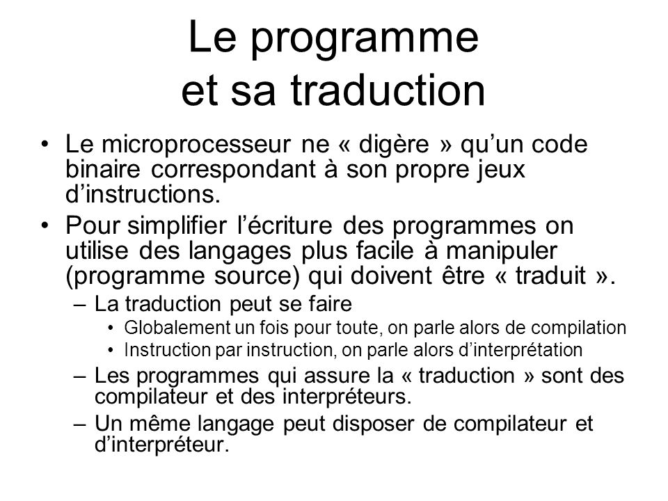 Le programme et sa traduction