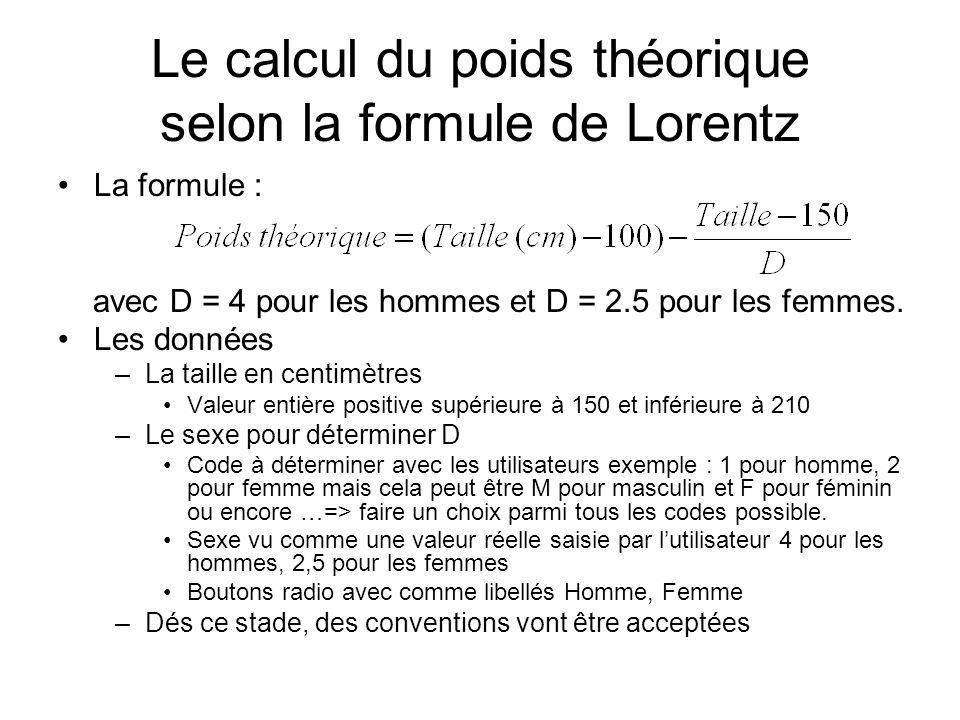 Le calcul du poids théorique selon la formule de Lorentz