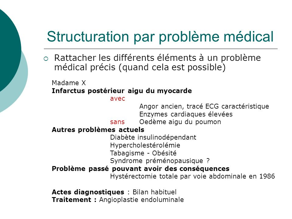 Structuration par problème médical