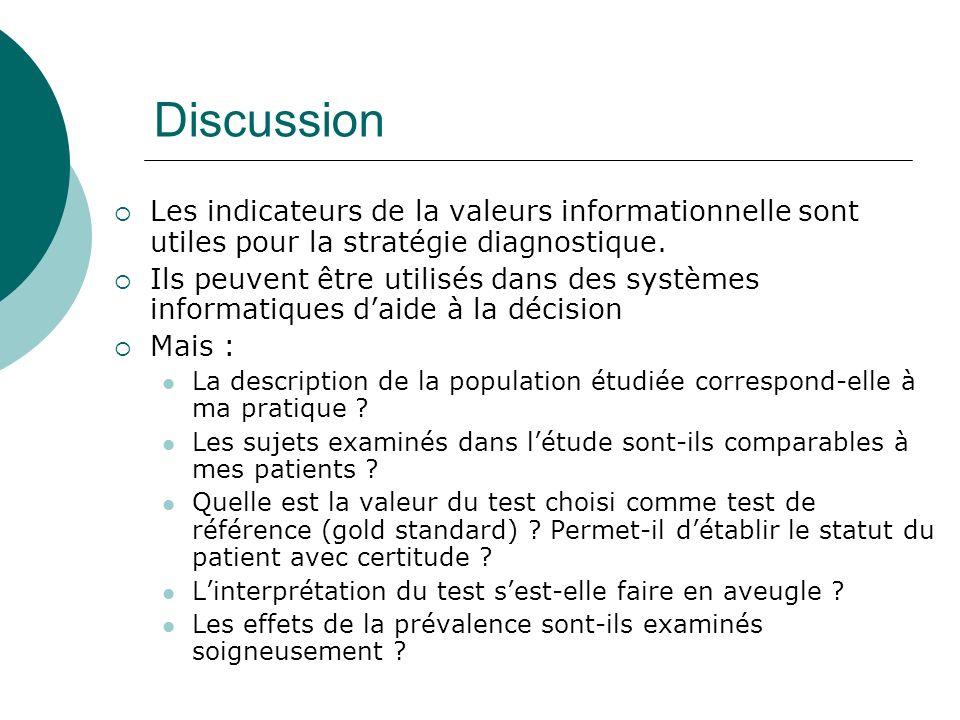 Discussion Les indicateurs de la valeurs informationnelle sont utiles pour la stratégie diagnostique.