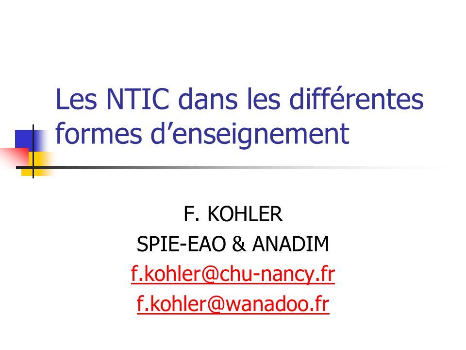 Les NTIC dans les différentes formes d'enseignement