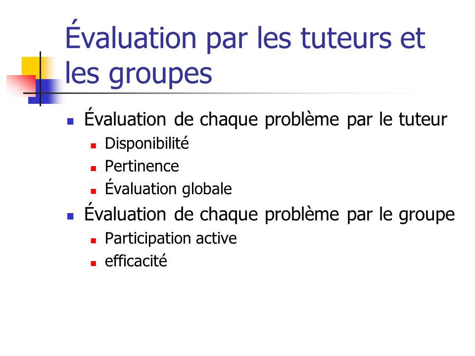 Évaluation par les tuteurs et les groupes