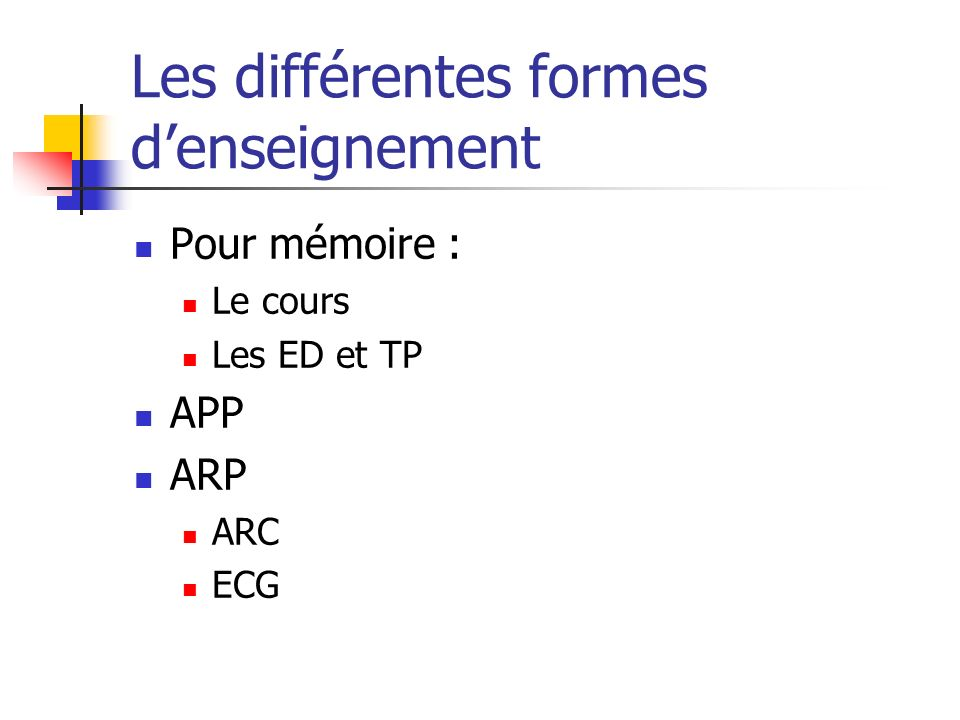 Les différentes formes d'enseignement