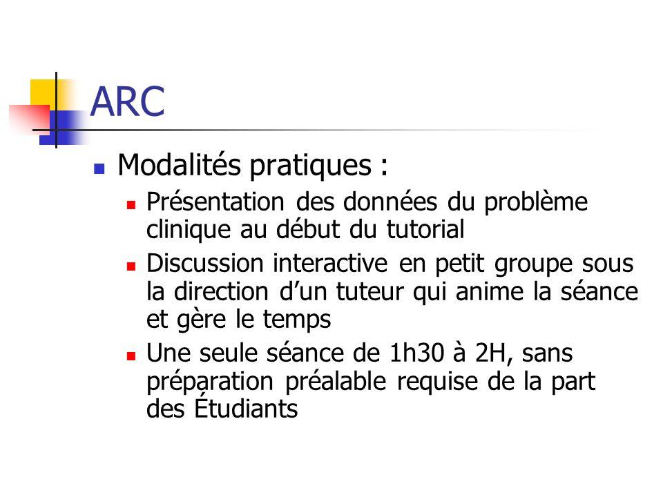 ARC Modalités pratiques :