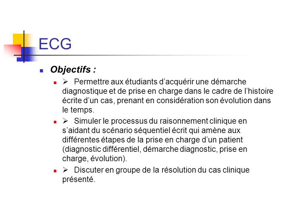 ECG Objectifs :