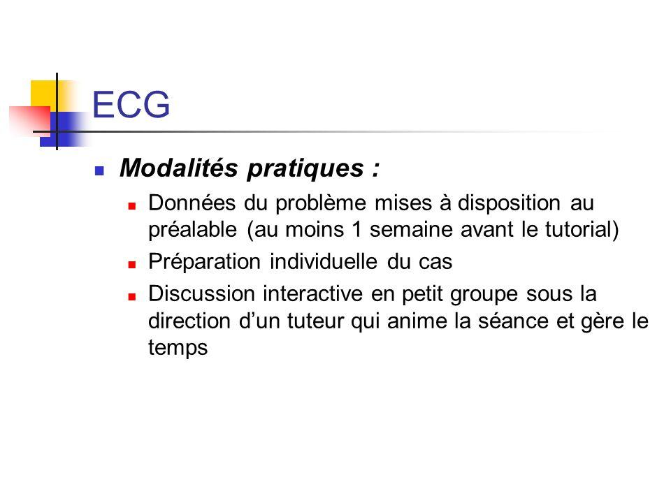 ECG Modalités pratiques :