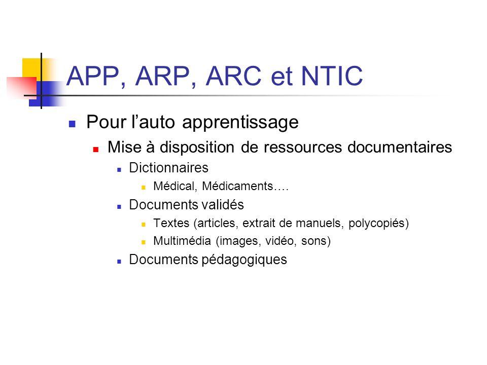 APP, ARP, ARC et NTIC Pour l'auto apprentissage