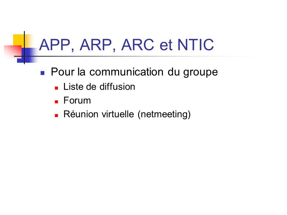 APP, ARP, ARC et NTIC Pour la communication du groupe