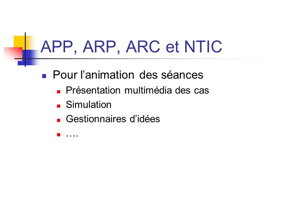 APP, ARP, ARC et NTIC Pour l'animation des séances