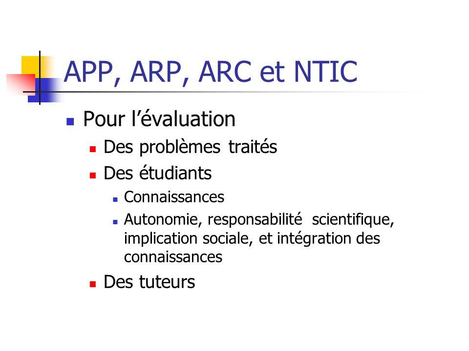 APP, ARP, ARC et NTIC Pour l'évaluation Des problèmes traités