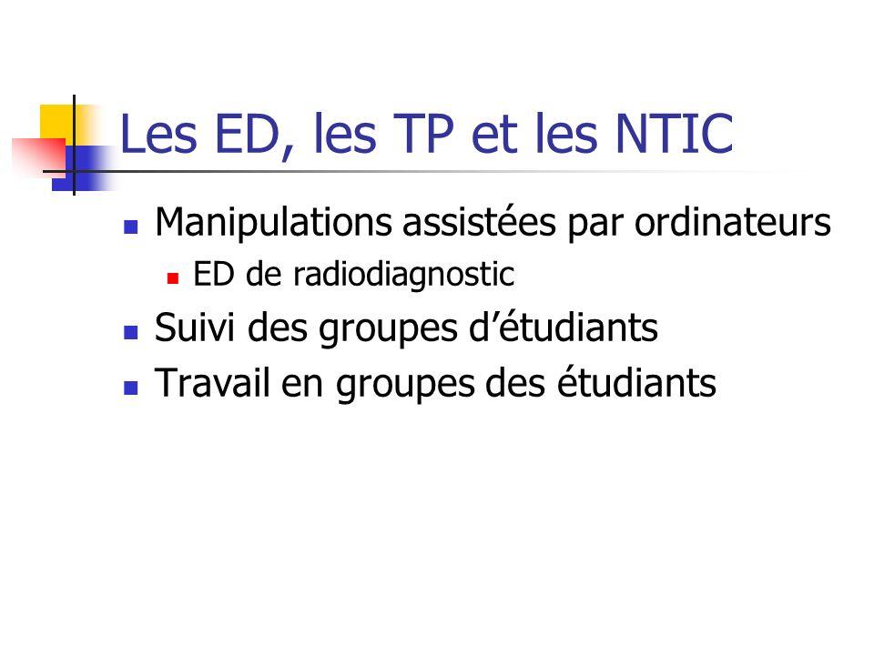 Les ED, les TP et les NTIC Manipulations assistées par ordinateurs
