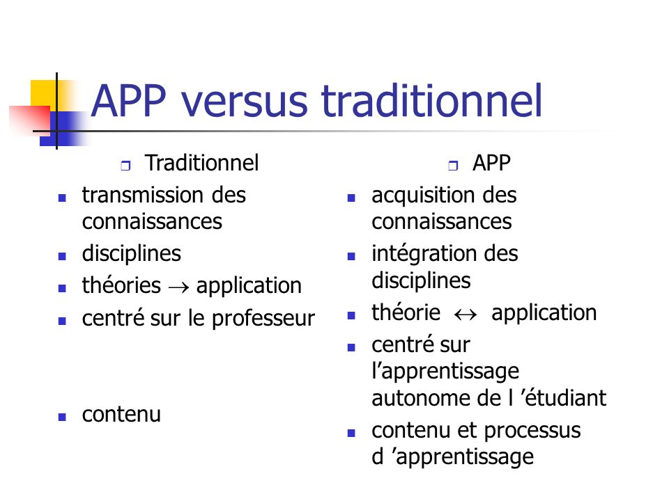 APP versus traditionnel