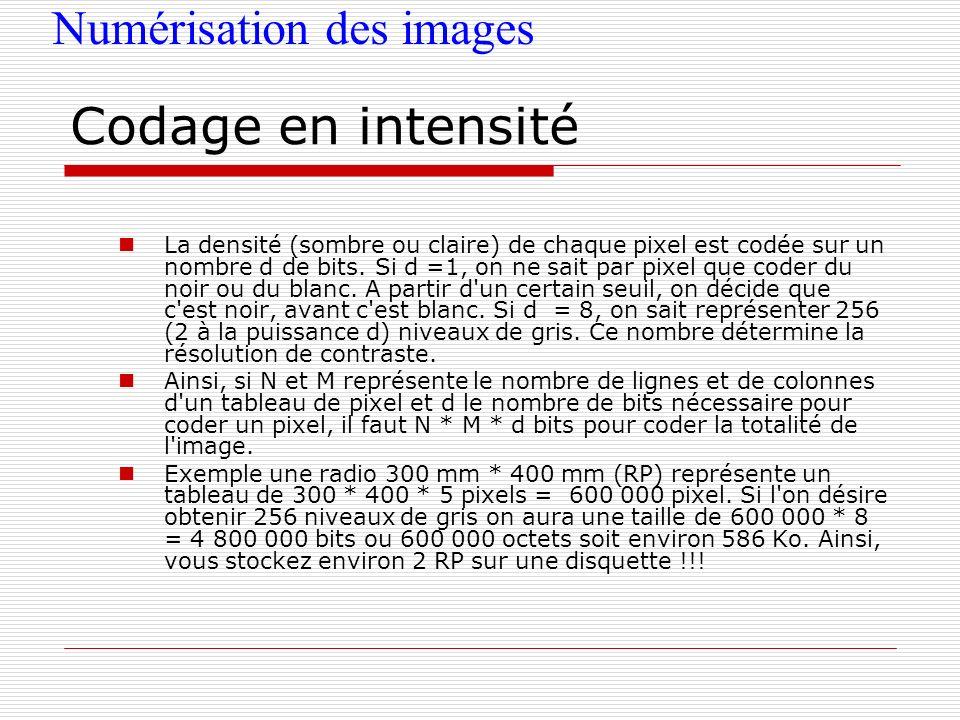 Codage en intensité Numérisation des images