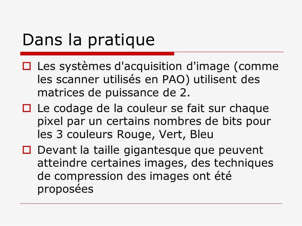 Dans la pratiqueLes systèmes d acquisition d image (comme les scanner utilisés en PAO) utilisent des matrices de puissance de 2.