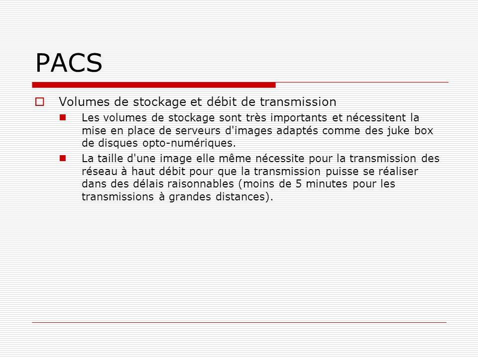 PACS Volumes de stockage et débit de transmission