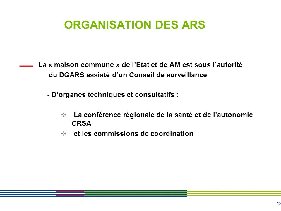 ORGANISATION DES ARS du DGARS assisté d'un Conseil de surveillance