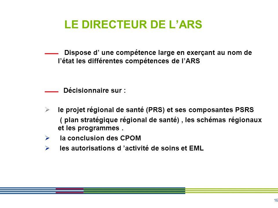 LE DIRECTEUR DE L'ARSDispose d' une compétence large en exerçant au nom de l'état les différentes compétences de l'ARS.